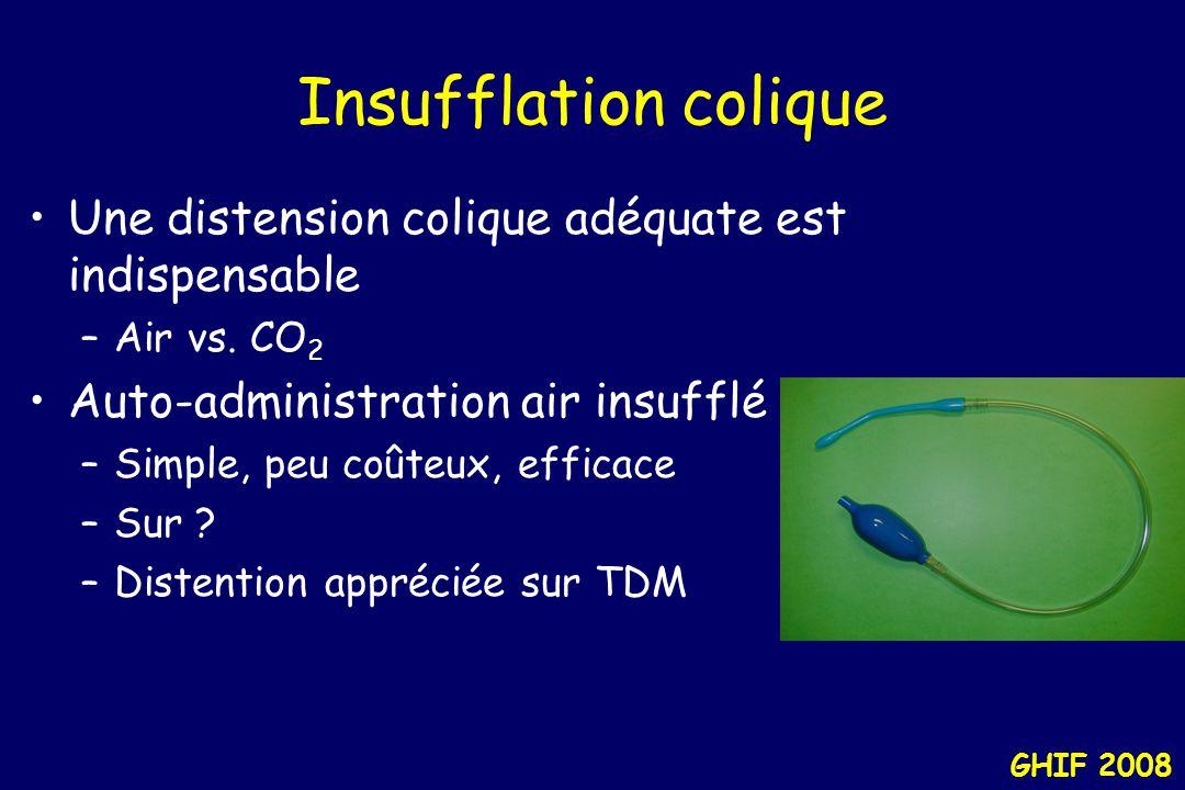 Insufflation colique Une distension colique adéquate est indispensable