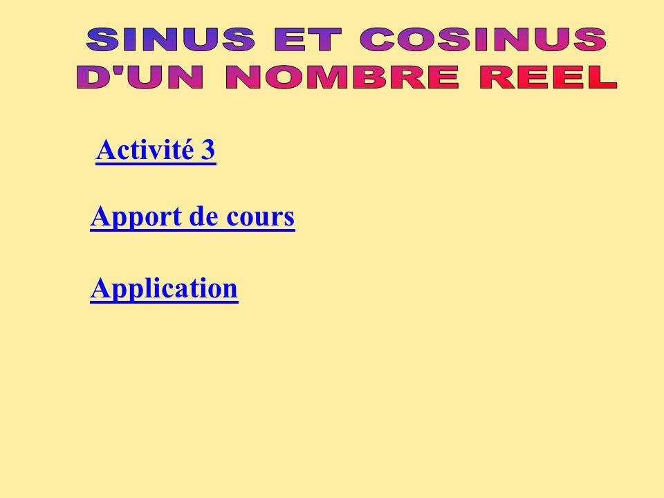 SINUS ET COSINUS D UN NOMBRE REEL Activité 3 Apport de cours