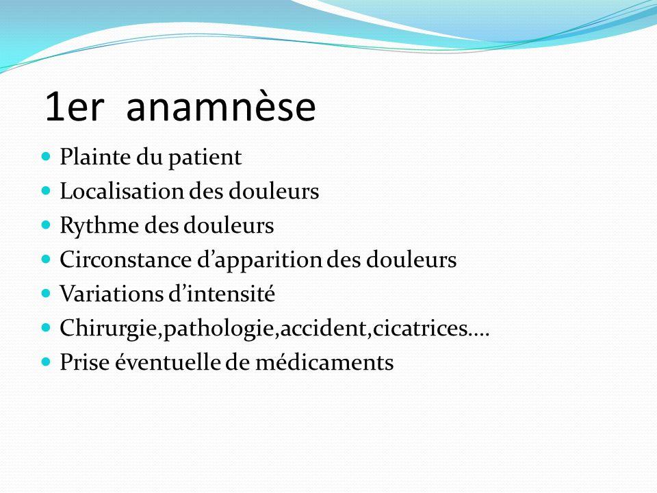 1er anamnèse Plainte du patient Localisation des douleurs