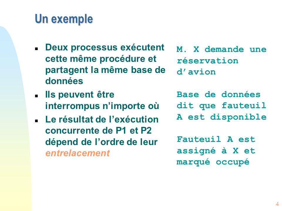 Un exempleDeux processus exécutent cette même procédure et partagent la même base de données. Ils peuvent être interrompus n'importe où.