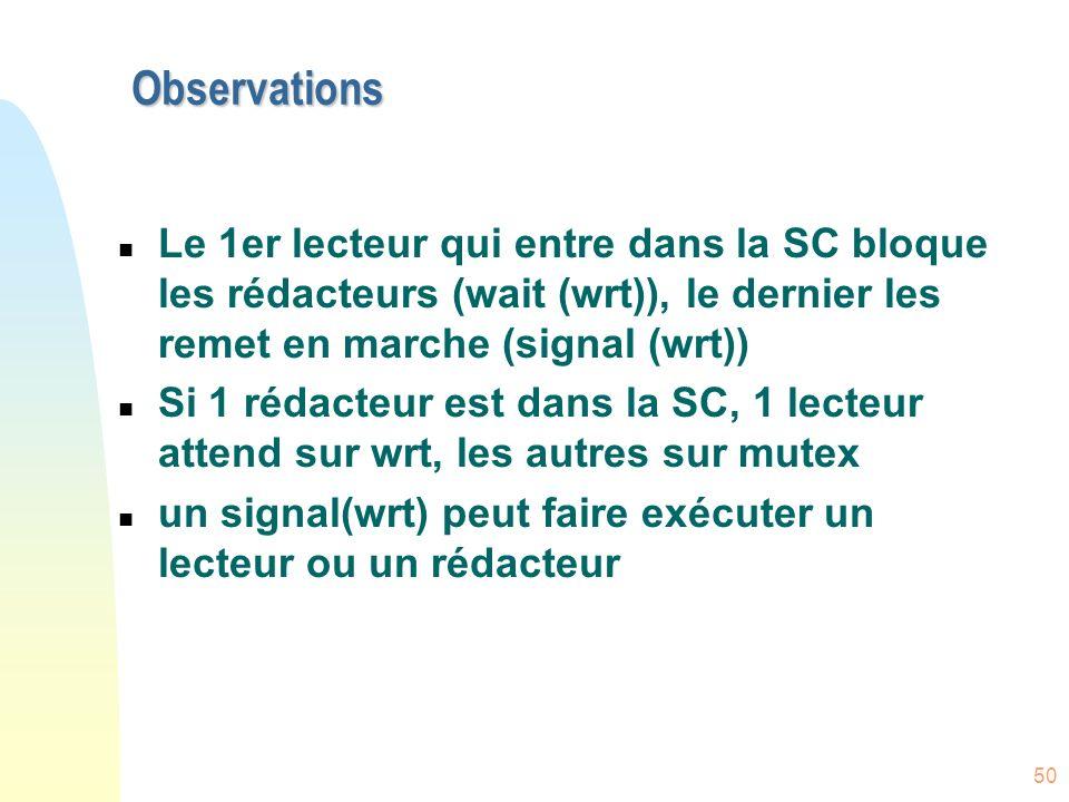 ObservationsLe 1er lecteur qui entre dans la SC bloque les rédacteurs (wait (wrt)), le dernier les remet en marche (signal (wrt))