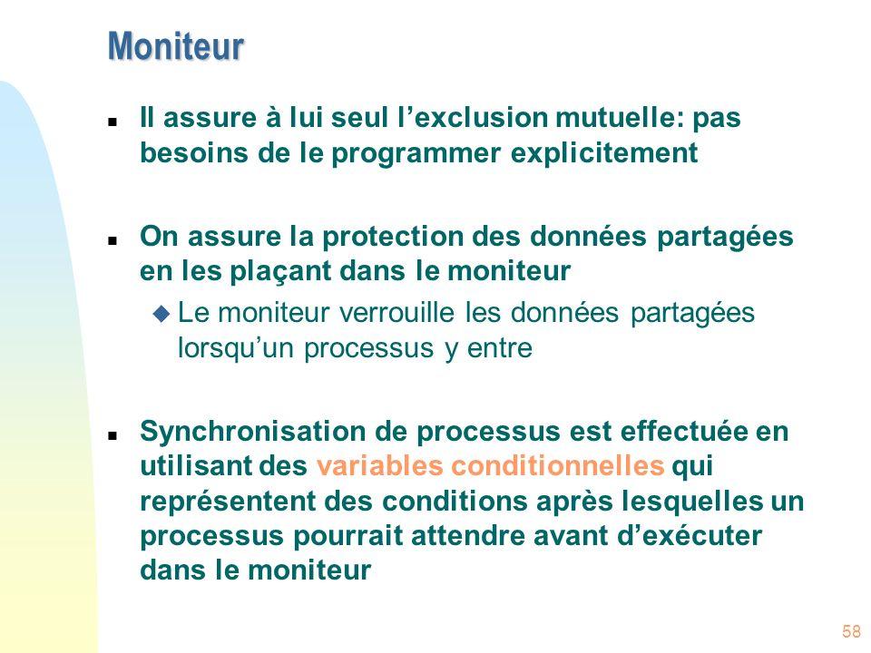 MoniteurIl assure à lui seul l'exclusion mutuelle: pas besoins de le programmer explicitement.