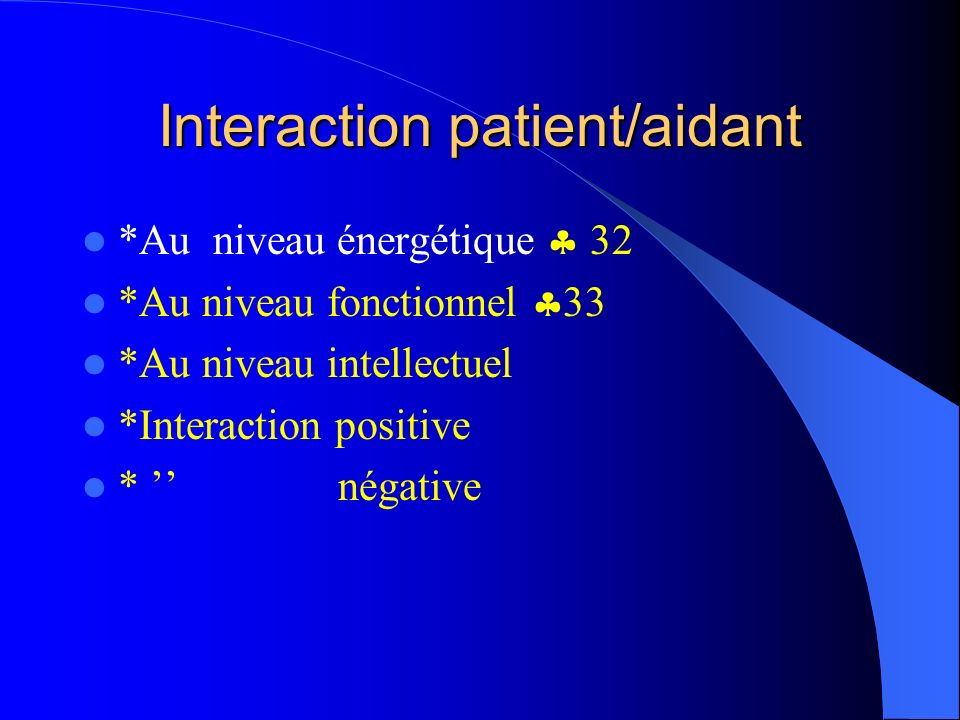 Interaction patient/aidant