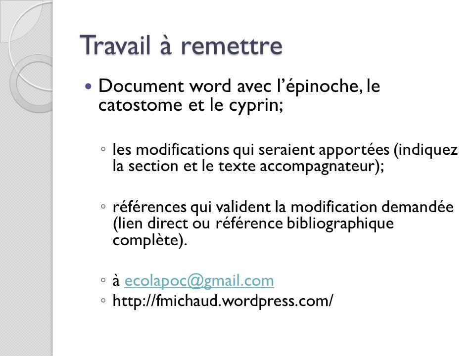 Travail à remettre Document word avec l'épinoche, le catostome et le cyprin;