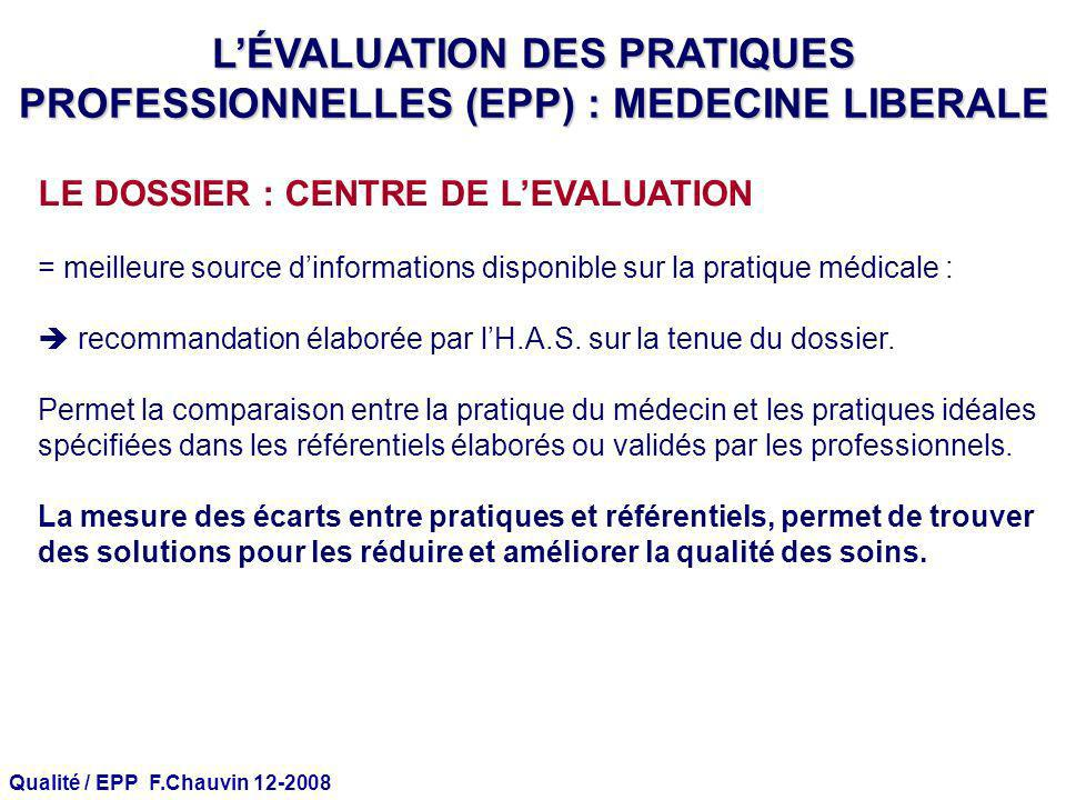 L'ÉVALUATION DES PRATIQUES PROFESSIONNELLES (EPP) : MEDECINE LIBERALE