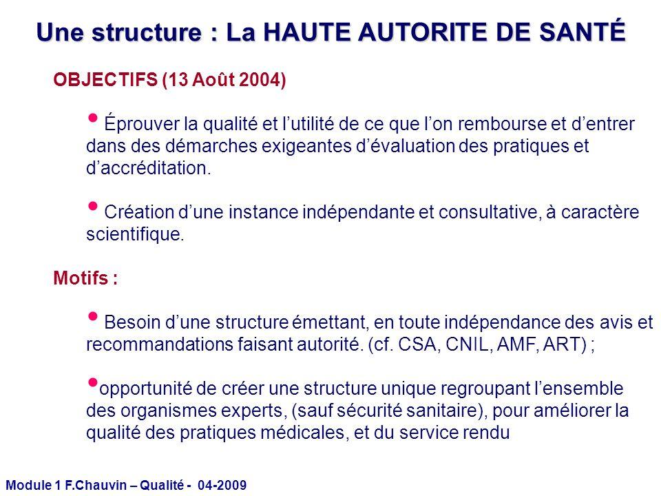 Une structure : La HAUTE AUTORITE DE SANTÉ