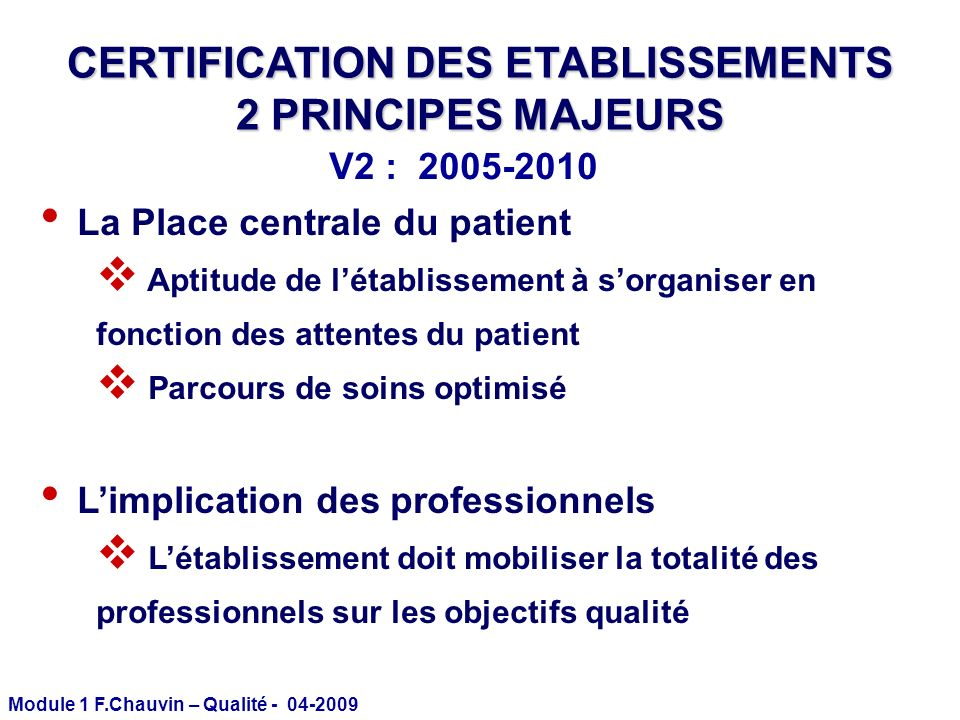 CERTIFICATION DES ETABLISSEMENTS
