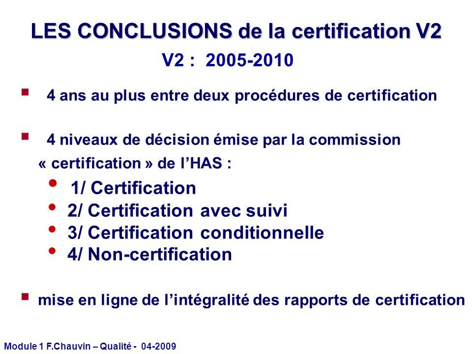 LES CONCLUSIONS de la certification V2