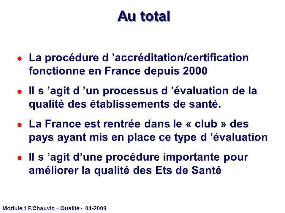 Au total La procédure d 'accréditation/certification fonctionne en France depuis 2000.