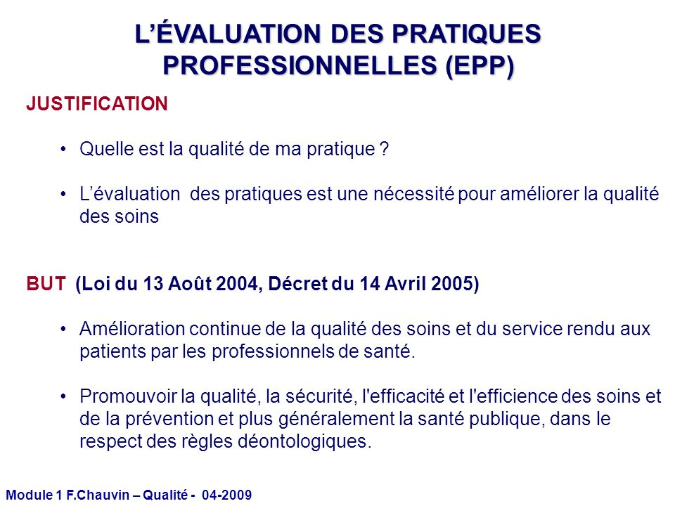 L'ÉVALUATION DES PRATIQUES PROFESSIONNELLES (EPP)