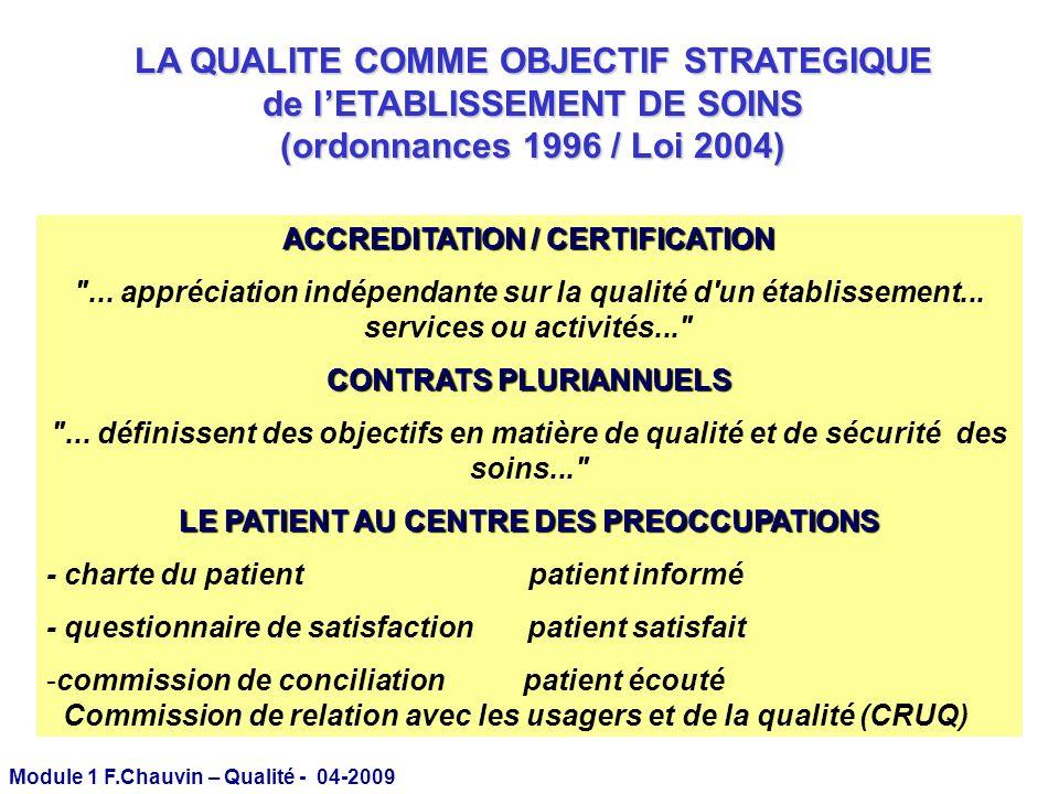 LA QUALITE COMME OBJECTIF STRATEGIQUE de l'ETABLISSEMENT DE SOINS (ordonnances 1996 / Loi 2004)