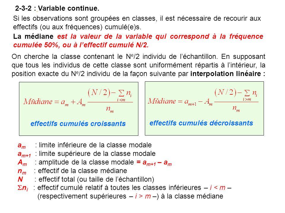 2-3-2 : Variable continue. Si les observations sont groupées en classes, il est nécessaire de recourir aux effectifs (ou aux fréquences) cumulé(e)s.