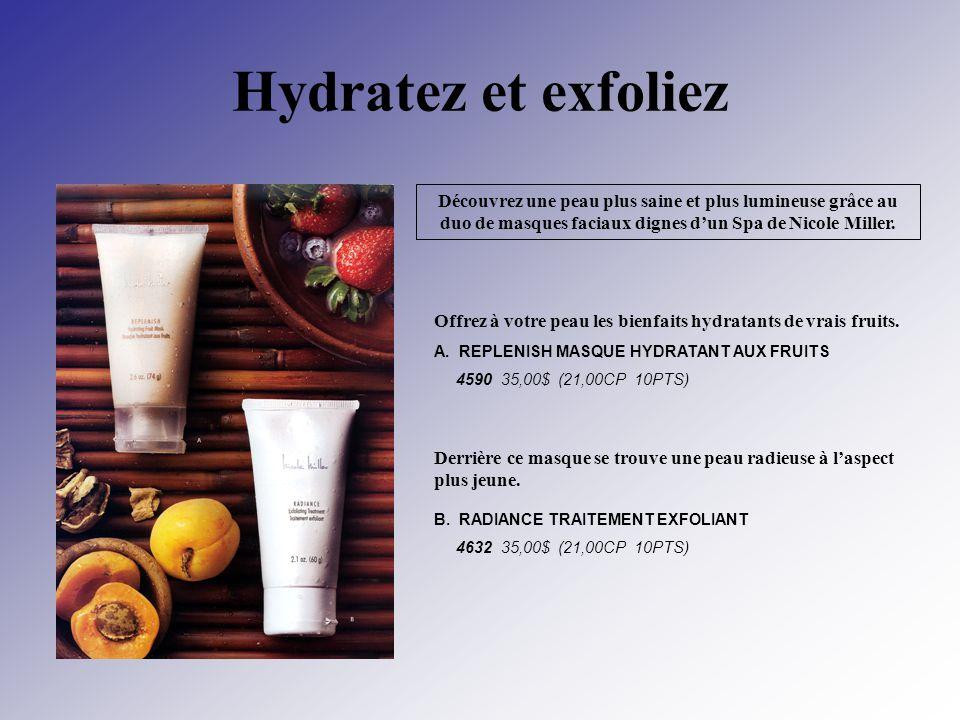 Hydratez et exfoliez Découvrez une peau plus saine et plus lumineuse grâce au duo de masques faciaux dignes d'un Spa de Nicole Miller.