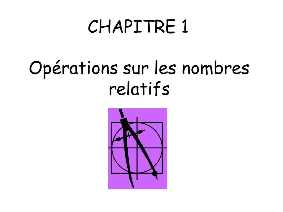 CHAPITRE 1 Opérations sur les nombres relatifs