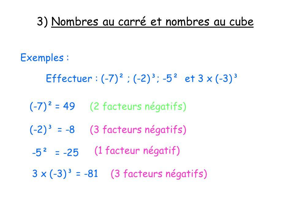 3) Nombres au carré et nombres au cube