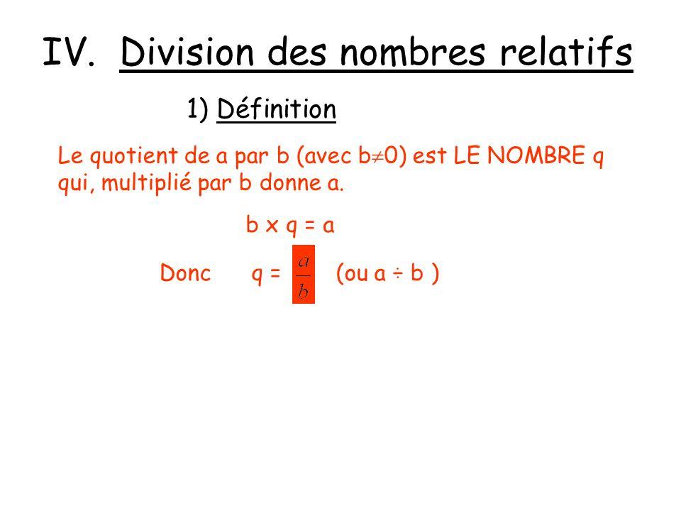 IV. Division des nombres relatifs