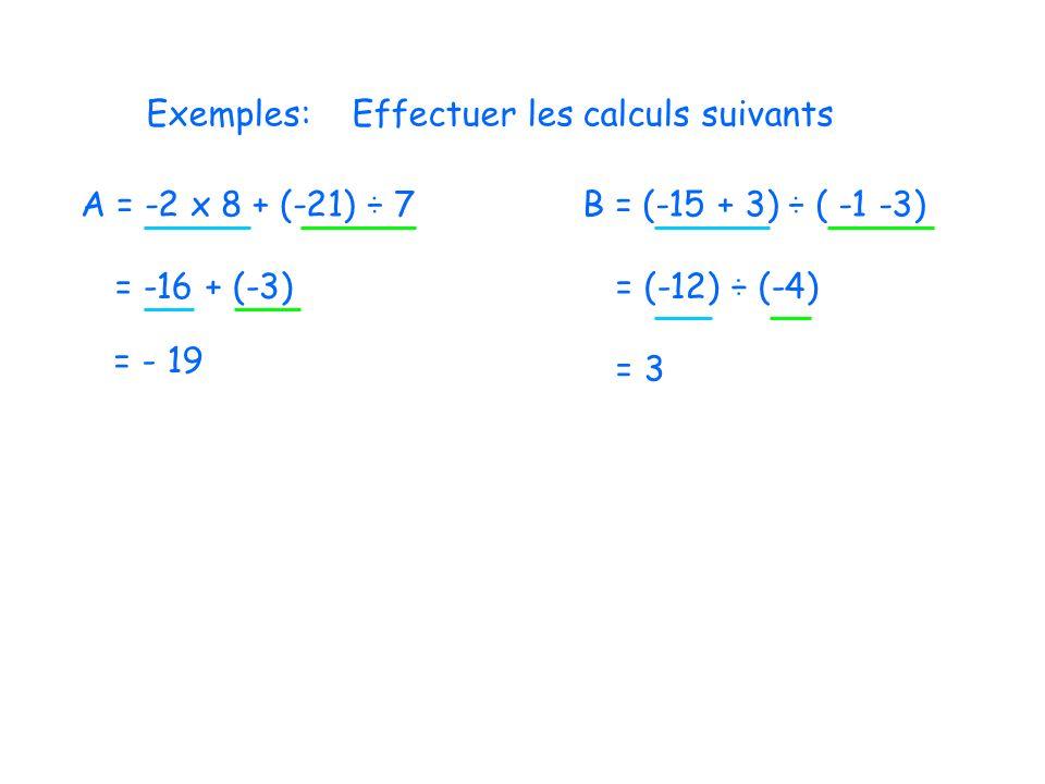 Exemples: Effectuer les calculs suivants. A = -2 x 8 + (-21) ÷ 7. B = (-15 + 3) ÷ ( -1 -3) = -16 + (-3)