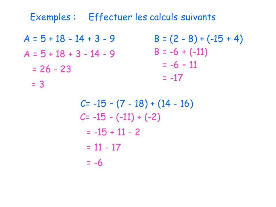 Exemples : Effectuer les calculs suivants. A = 5 + 18 - 14 + 3 - 9. B = (2 - 8) + (-15 + 4) B = -6 + (-11)