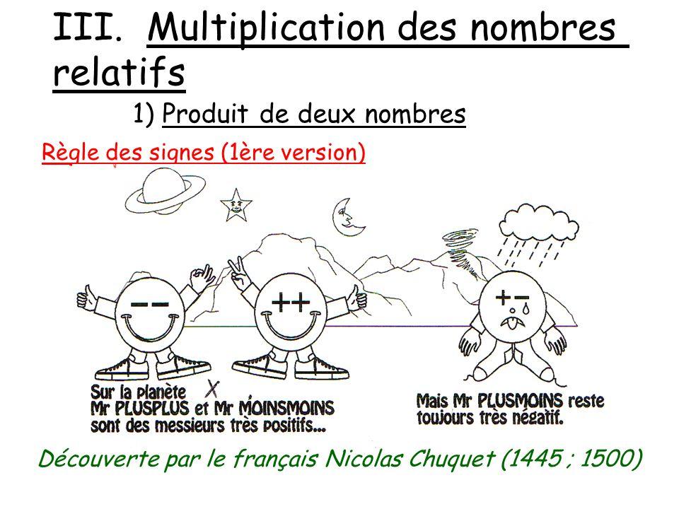 III. Multiplication des nombres relatifs