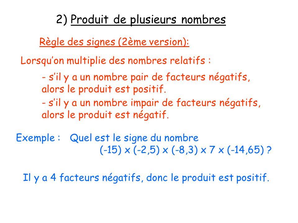 2) Produit de plusieurs nombres
