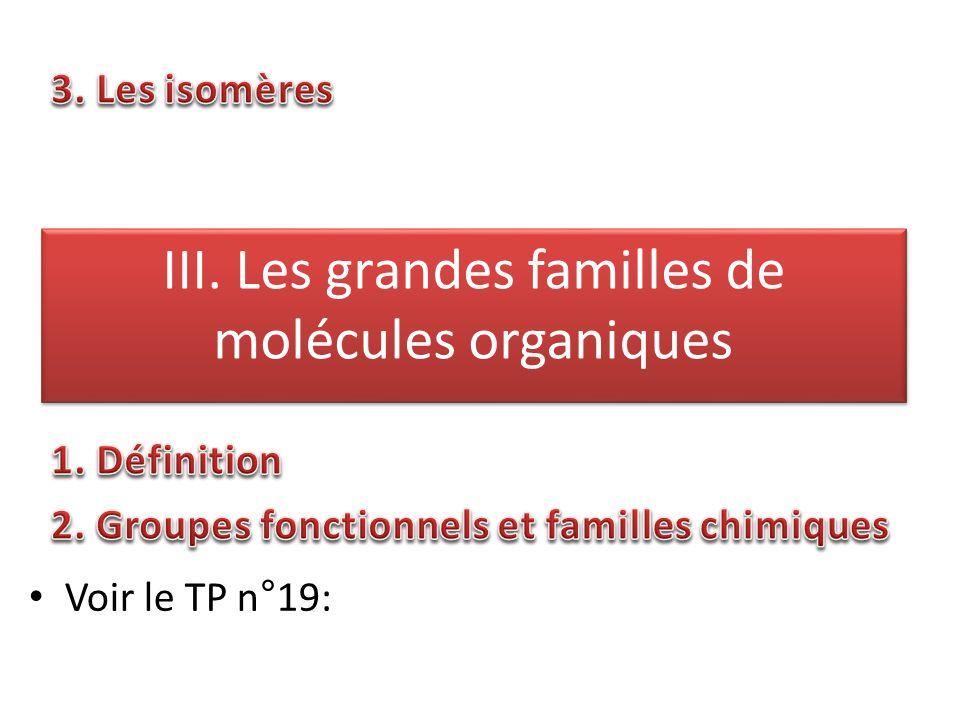 III. Les grandes familles de molécules organiques