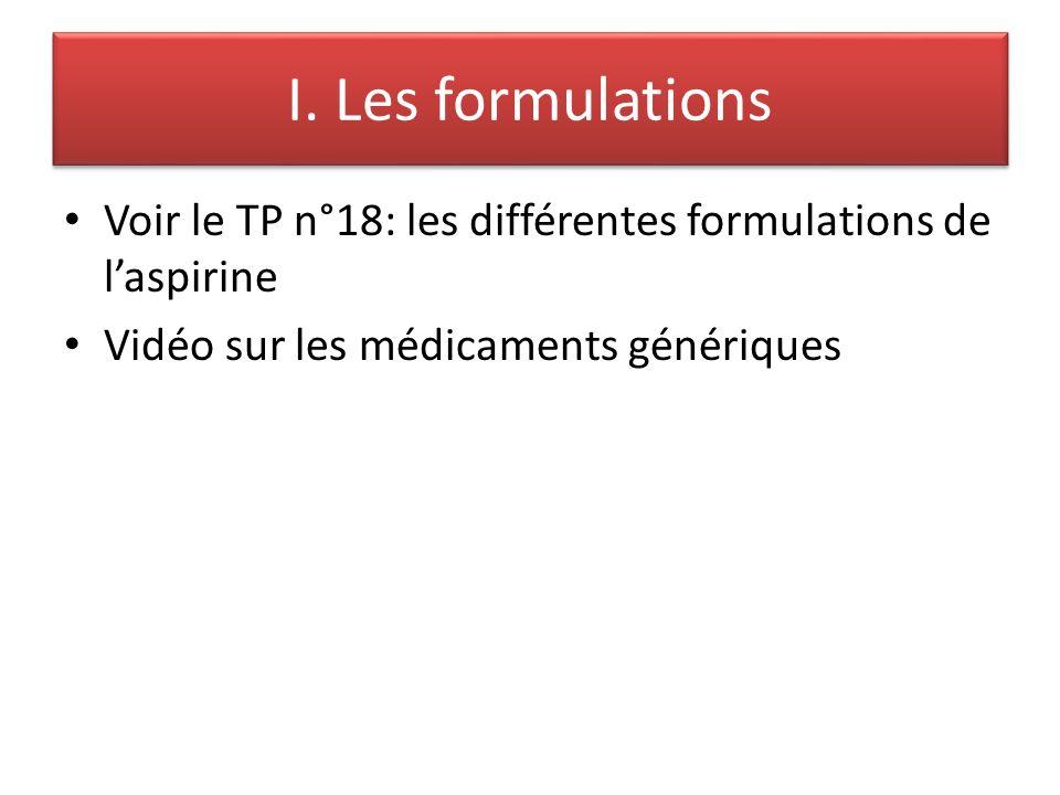 I. Les formulations Voir le TP n°18: les différentes formulations de l'aspirine.