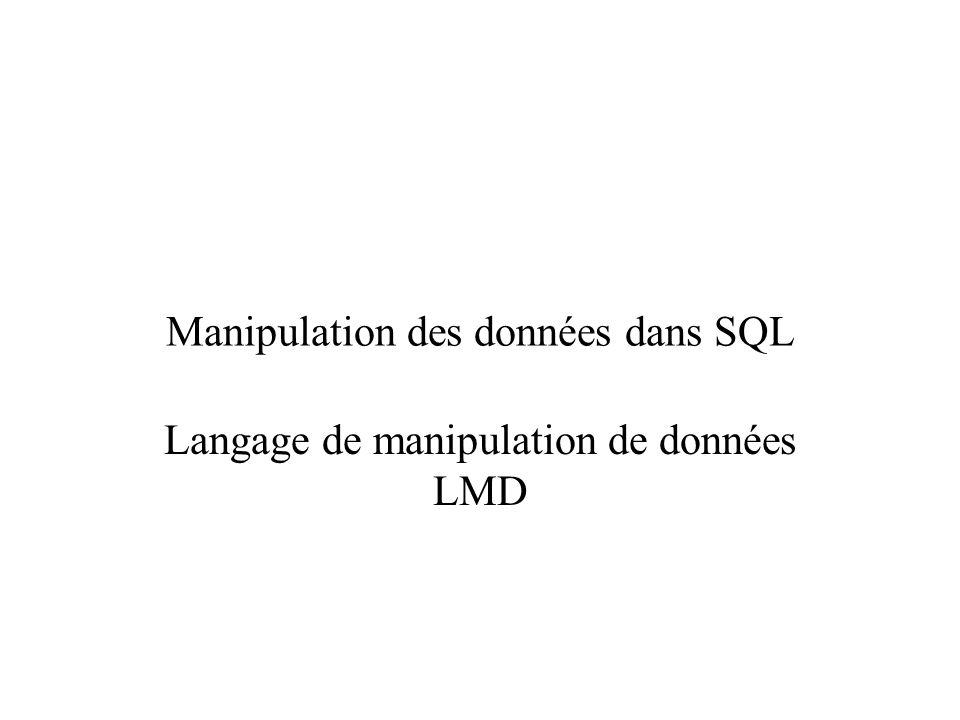 Manipulation des données dans SQL