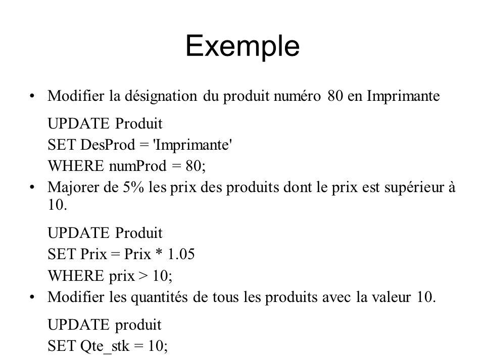 Exemple Modifier la désignation du produit numéro 80 en Imprimante