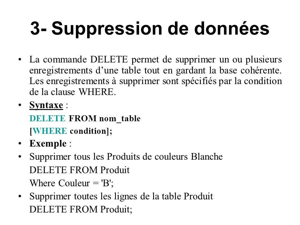 3- Suppression de données
