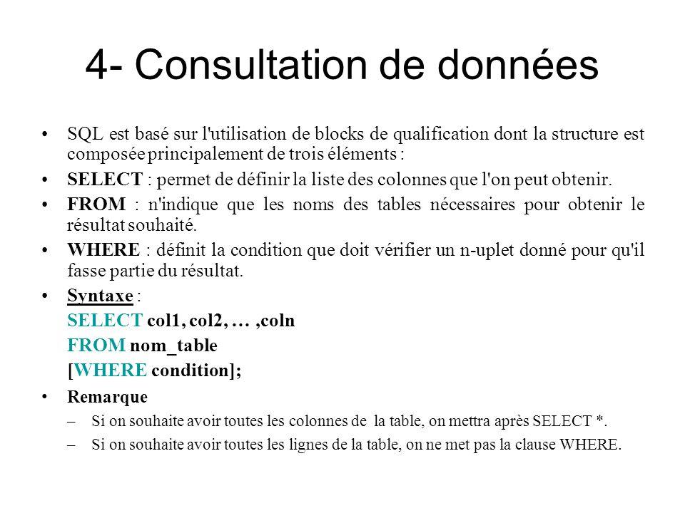 4- Consultation de données