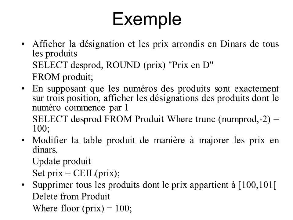 Exemple Afficher la désignation et les prix arrondis en Dinars de tous les produits. SELECT desprod, ROUND (prix) Prix en D