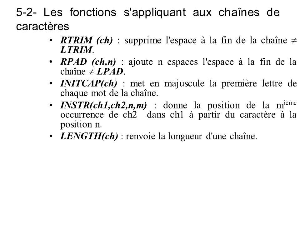 5-2- Les fonctions s appliquant aux chaînes de caractères