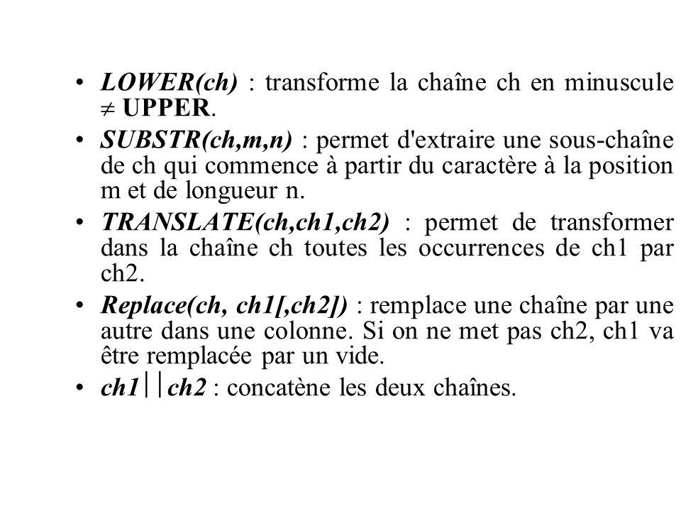 LOWER(ch) : transforme la chaîne ch en minuscule  UPPER.