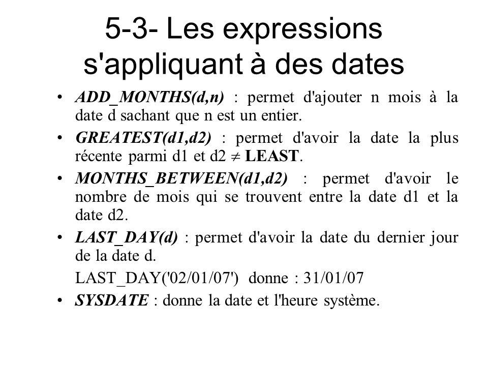 5-3- Les expressions s appliquant à des dates