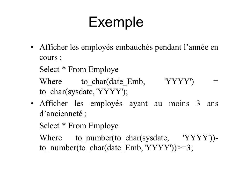 Exemple Afficher les employés embauchés pendant l'année en cours ;