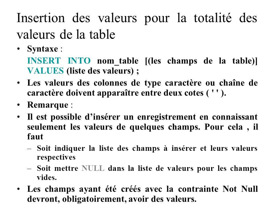Insertion des valeurs pour la totalité des valeurs de la table