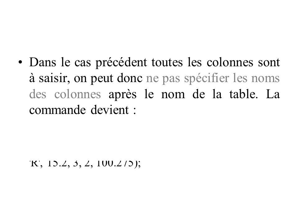 Dans le cas précédent toutes les colonnes sont à saisir, on peut donc ne pas spécifier les noms des colonnes après le nom de la table. La commande devient :
