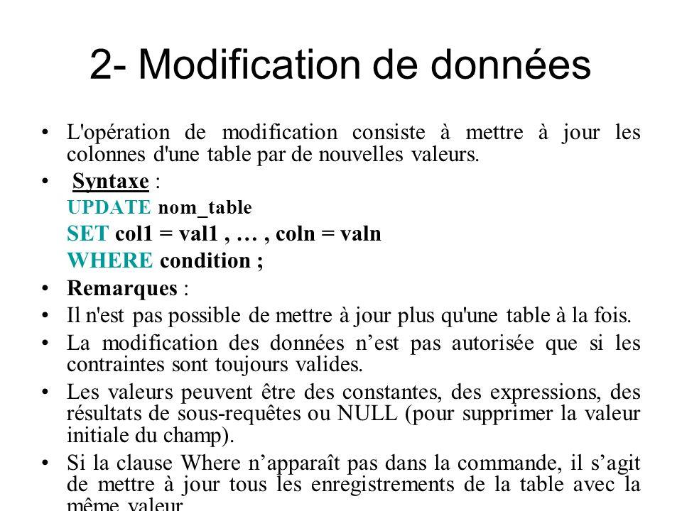 2- Modification de données
