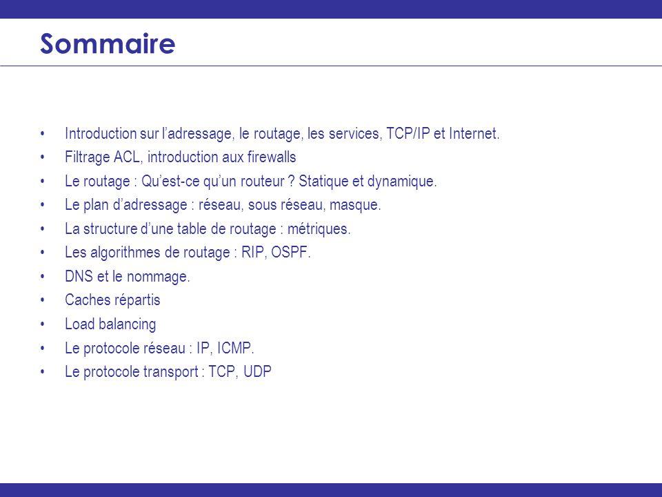 Sommaire Introduction sur l'adressage, le routage, les services, TCP/IP et Internet. Filtrage ACL, introduction aux firewalls.