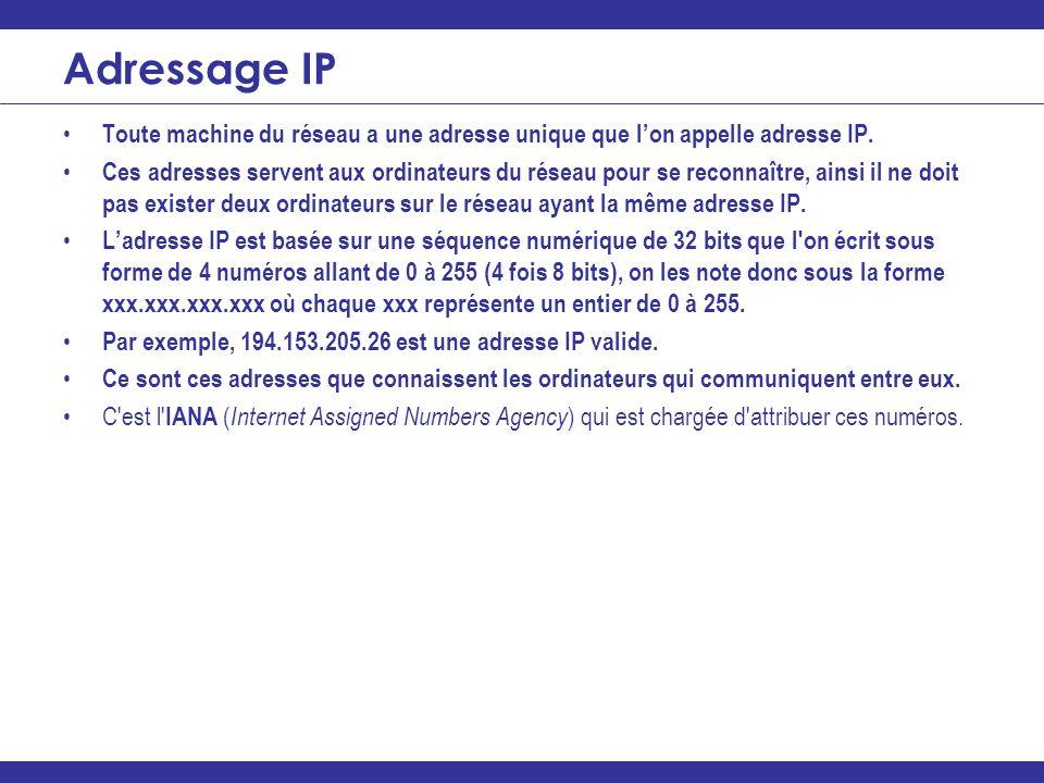 Adressage IP Toute machine du réseau a une adresse unique que l'on appelle adresse IP.