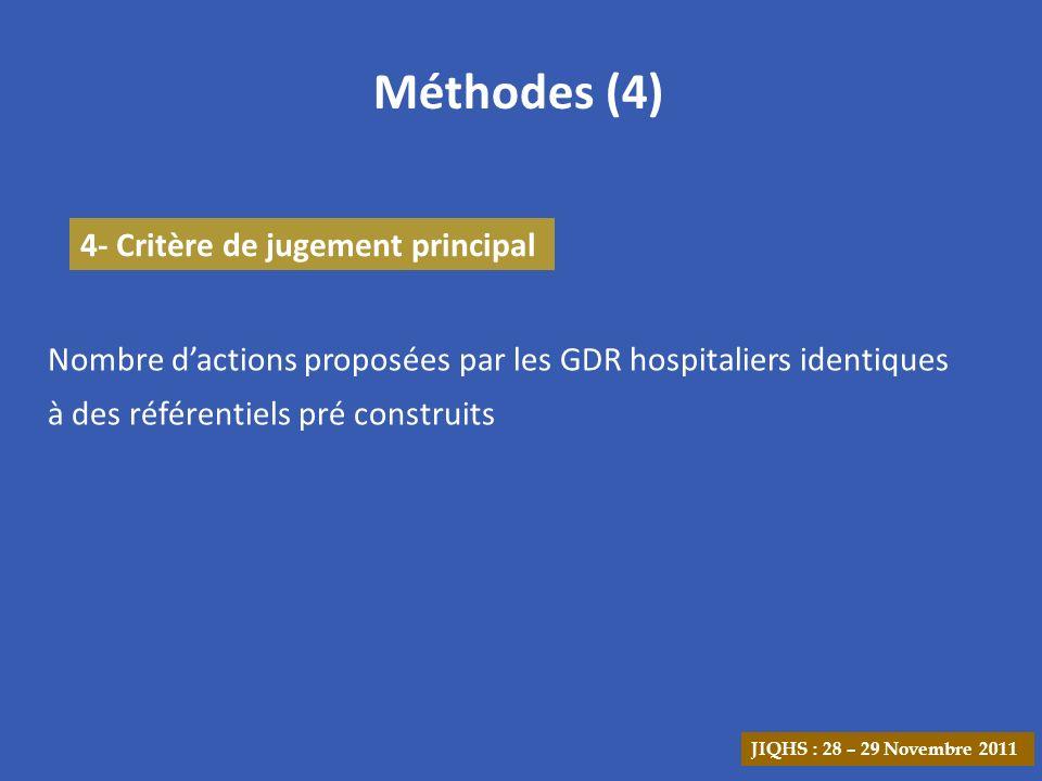 Méthodes (4) 4- Critère de jugement principal