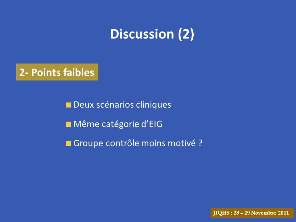 Discussion (2) 2- Points faibles Deux scénarios cliniques