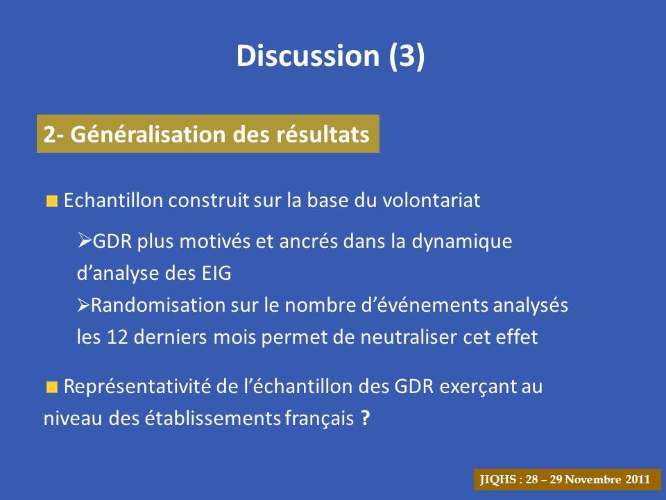 Discussion (3) 2- Généralisation des résultats