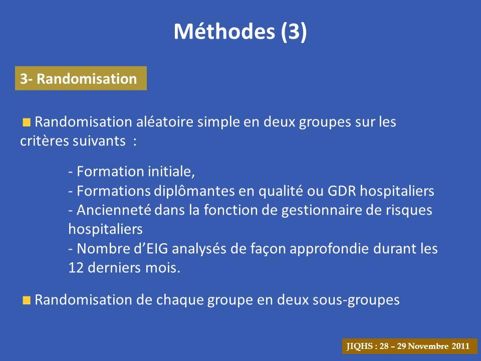 Méthodes (3) 3- Randomisation