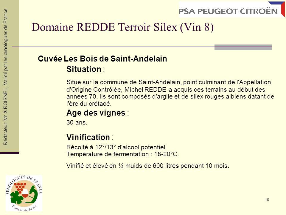 Domaine REDDE Terroir Silex (Vin 8)