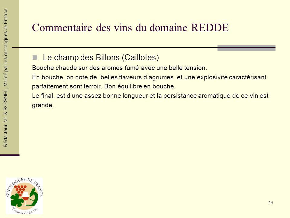 Commentaire des vins du domaine REDDE