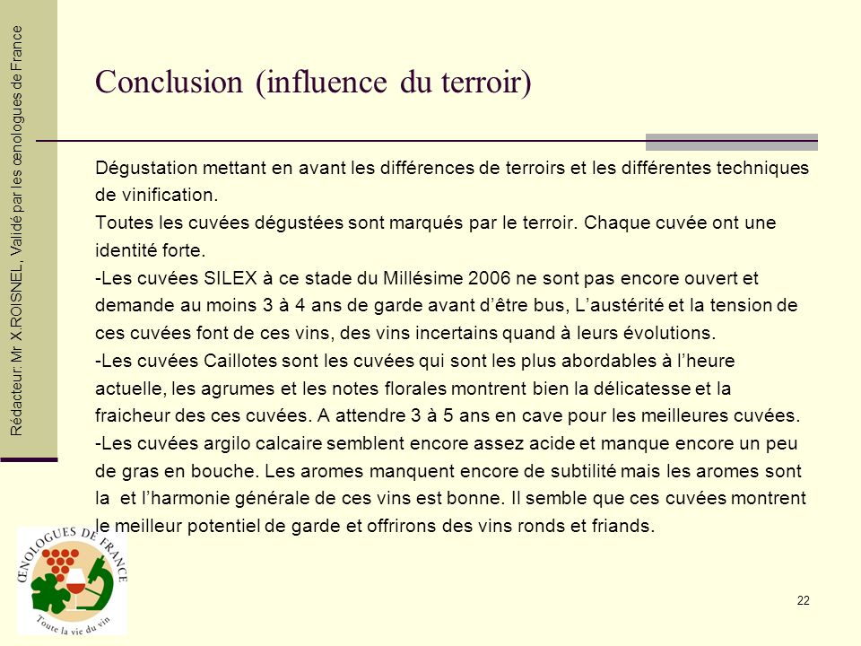 Conclusion (influence du terroir)