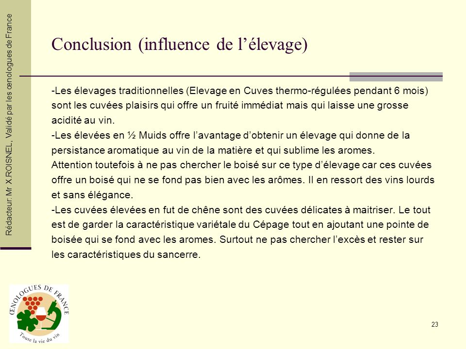 Conclusion (influence de l'élevage)