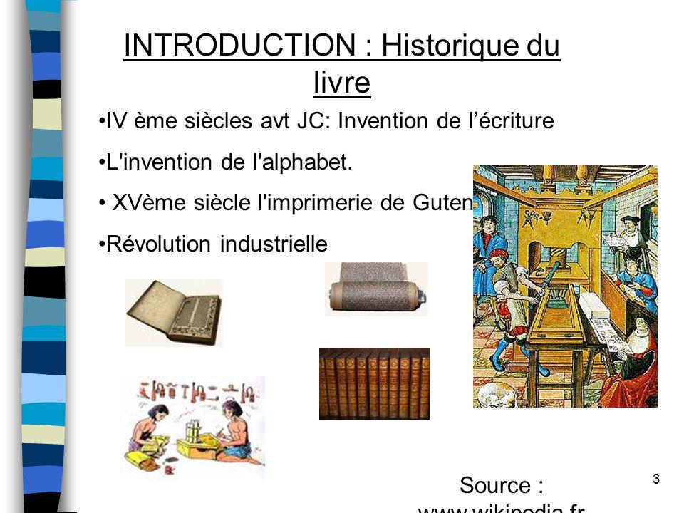 INTRODUCTION : Historique du livre