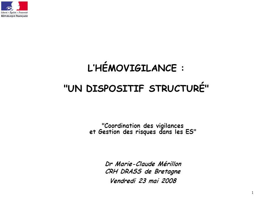 L'HÉMOVIGILANCE : UN DISPOSITIF STRUCTURÉ